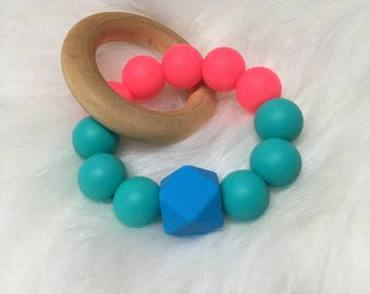 Silicone & Wood Teether with a Mini Rose