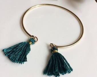 ELÉA bracelet gold and green tassels