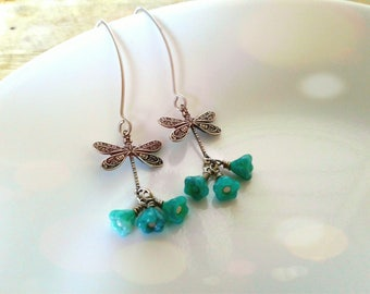 Dragonfly Earrings Turquouse Bell Flower Earrings Silver Dragonfly Earring Turquoise Flower Earrings Dragonfly Earrings Women's Earrings