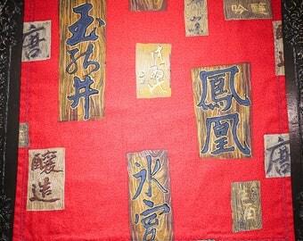 Red Asian Hank, Handkerchief, Display Mat, EDC Dump