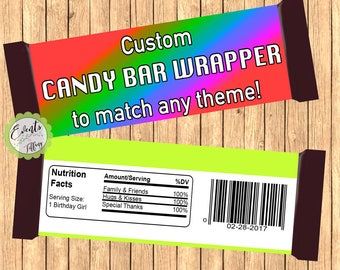 Custom Candy Bar Wrapper, Custom Wrapper, Custom Favor,- DIGITAL FILE ONLY