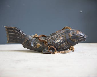 Vintage Carved Wood Fish w/ Hook