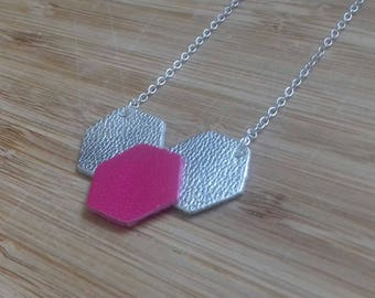 Hexagon shape pink and silver leather necklace