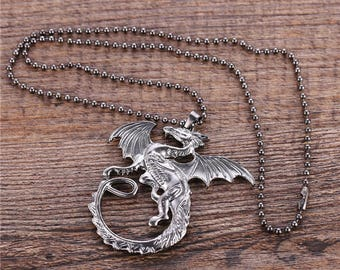 Fiery Dragon Pendant Chain Necklace