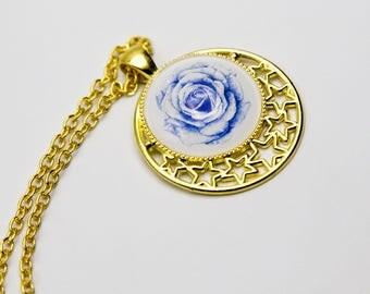 """Simple cabochon pendant necklace """"the blue rose"""" romantic, cute"""
