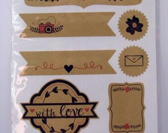 Kraft stickers - love design - flowers - 9 stickers