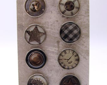 Set of 9 big brads - vintage - nut - stars - clock