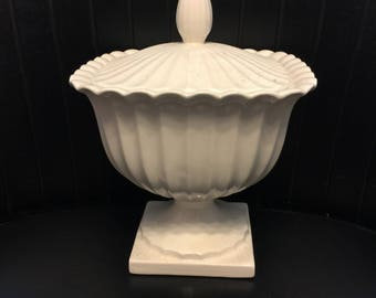 1960's vintage milk glass container with Lid