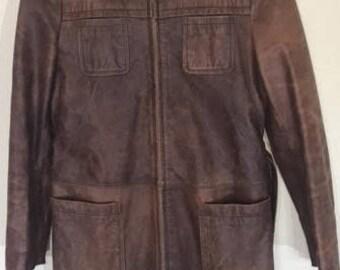 Vintage Brown Leather Coat Jacket