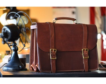 Handmade Horween English Tan Dublin Briefcase