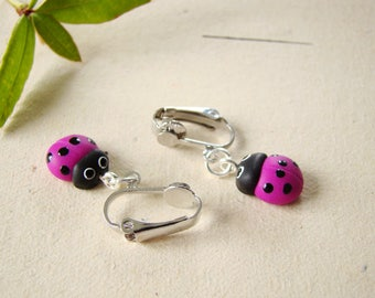 Fimo - clip earrings Ladybug earrings Pink Clay plymere - animal clip on earrings