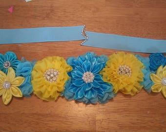 Blue and yellow maternity sash . Flower babyshower belt