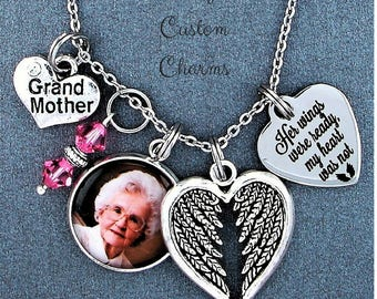 Grandmother ~ Her Wings Were Ready Memorial Keepsake Photo Charm Necklace, Swarovski Birthstone, Sympathy Jewelry Gift, Custom Picture Charm