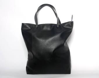 minimalist shoulder bag, tote bag - black - vegan leather crossbody bag, shoulder bag - black, handbag, shoulder bag, shopper