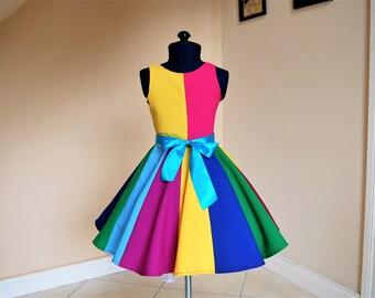 Rainbow dress,  Girls Dress, Party Dress, Sunday, Dress, Special Occasion Dress, Spring/Summer Dress, Kids Dress.