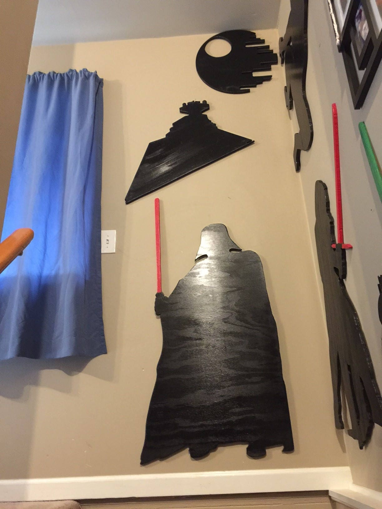 Imperial Star Destroyer Silhouette Wall Art W/ Wall Hangers ...