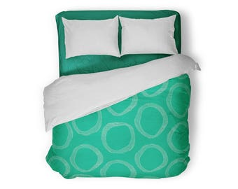Green Duvet Cover, Queen Duvet Cover, King Duvet Cover, Full Duvet Cover, Twin XL Duvet Cover, Twin Duvet Cover, Bedding, Bedspread