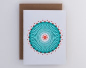 Turquoise Spirals Geometric Greeting Card // Abstract Atom // Mint Circles // Risograph Stationery for Geeks // Science Gift Card