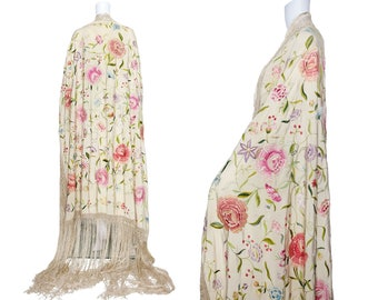 1920s Ivory Silk Piano Shawl with Pastel Embroidery