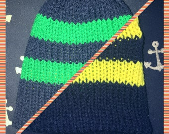 Reversible Hat with stripe in Navy Blue & Yellow/Green