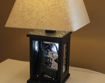 Hidden Gun Case, Man Cave Tactical Edition Lamp, Hidden, Concealed, Oak
