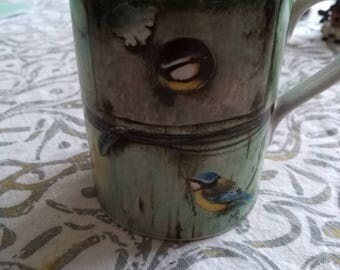 Marjolein Bastin bluebird coffee cup with feathers vintage beautiful.