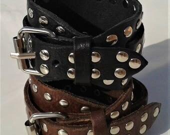 Leather Bracelet, Buckle Bracelet, Studded Bracelet, Double Wrap Leather Bracelet, Rock 'n' Roll Chic