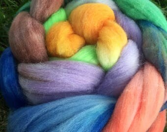 Merino Roving, 4 Ounces, Hand painted, Hand Dyed