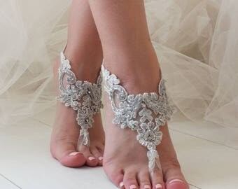 EXPRESS SHIPPING Beach wedding Barefoot Sandals Silver Grey beaded  Hand process Lace Barefoot Sandals, Bridal Lace Sandals, Bridal  Shoes