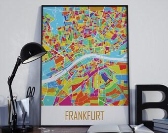 Frankfurt Map Frankfurt Travel Map Frankfurt Street Map Frankfurt Map Poster Frankfurt Map Photo Frankfurt Map Print Frankfurt Map Art