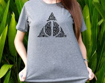 Deathly Hallows with text spell shirt Harry Potter shirts Women&Men t-shirts Shot sleeves tumblr Unisex Adult size S/M/L/XL/2XL