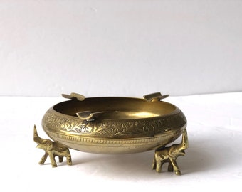 Brass Elephant Ashtray Dish