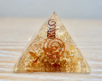 Success & Abundance 50-60mm Orgone Pyramid  Citrine Stone Meditation Reiki Prayer Yoga Gift Crystal Healing Natural Quartz Chakra Handmade