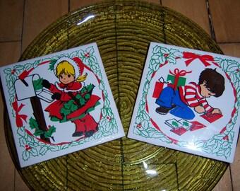 Vintage Jasco Taiwan 1970's Ceramic Hand Painted Christmas Tile Trivet Christmas Set of 2 Girl and Boy