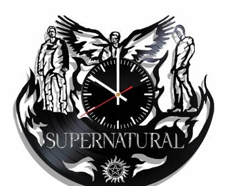 Supernatural vinyl record wall clock