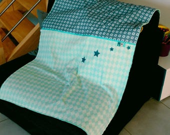 CUSTOM colored cotton and minky baby blanket