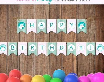 Printable party banner, Unicorn party banner, Happy birthday banner, Unicorn party theme, Print your party, DIY party decor, Printable party