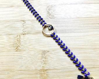 Leaves bracelet Navy Blue beads