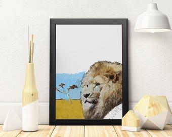 Lion Art, Safari Nursery Art, Lion Printable Art, Lion Wall Art, Safari Nursery Print, Nursery Wall Art, Digital Download, Nursery Decor