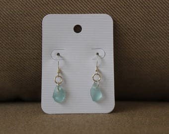 Aqua Beach Glass Dangle Earrings