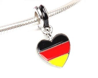 Germany Flag Charm - Germany Charm - Germany Heart Charm - I Love Germany Charm  - Germany Bead - Fits all Charm Bracelets