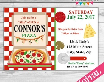 DIGITAL Pizza Party invitation