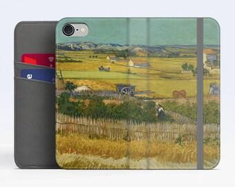 """Vincent Van Gogh, """"Harvest at La Crau"""". iPhone 7 Wallet case iPhone 6 Wallet Case  iPhone 8 Plus Wallet case. Samsung Wallet cases."""