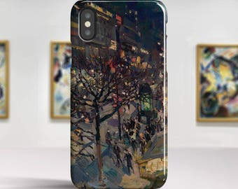 "Konstantin Korovin, ""Boulevard Montmartre by Night"". iPhone X Case Art iPhone 8 Case iPhone 7 Plus Case and more. iPhone X TOUGH cases."