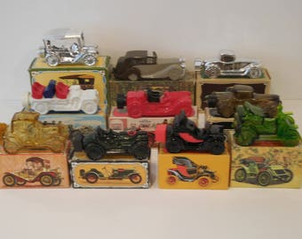 Avon Products Collectors Set (10)-Vintage Cars/Autos Glass Decanters 1900-1919, Cologne Bottles