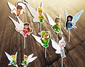 Tinkerbell Cupcake Toppers, Tinkerbell Printable Cupcake Topper, Tinkerbell Party, Tinkerbell Cake Topper, Tinkerbell Birthday| TI_CUPCAKE 2