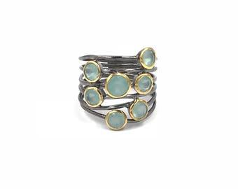 New design:  Chalcedony confetti ring