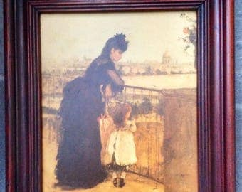 Berthe Morisot 1871-1872 lacquered print original frame - Antique print - Woman and child on balcony