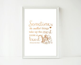 Real Foil Print - Someties the Smallest Things Winnie the Pooh, Nursery Baby Kids Decor Wall Art, Gold, Gopper, Silver