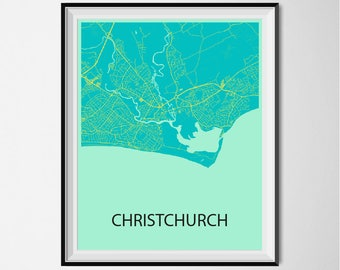 Christchurch Map Poster Print - Blue and Yellow